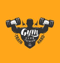 gym club logo sport bodybuilding emblem vector image