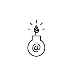 hacker infected e-mail icon on white background vector image