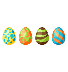 happy easter set eggs vector image