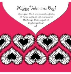 Happy Valentines day card with lace hearts vector image