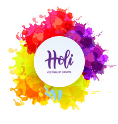 holi spring festival colors lettering vector image