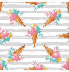 ice cream pattern striped background trendy art vector image