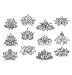 Indian paisley flowers with lace ornaments vector