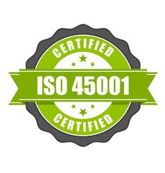 Iso 45001 standard certificate badge - health vector
