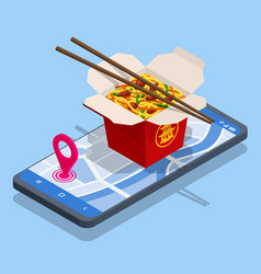isometric online delivery food stir-fried noodles vector image