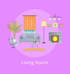 Living room interior isolated on lilac backdrop vector