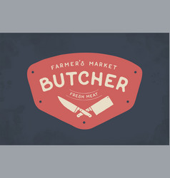 Logo of butcher meat shop vector