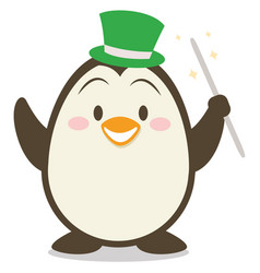 Magician penguin character vector