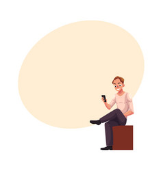 Man sitting playing with smartphone texting vector