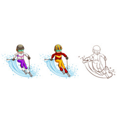 Man skiing in three different drawing styles vector