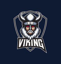 mascot esport logo viking with shield emblem vector image
