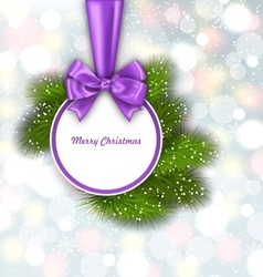 Merry Christmas Elegant Card with Bow Ribbon vector image