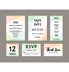 Modern wedding set template vector