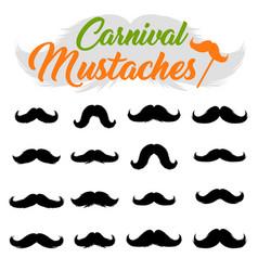 Moustaches stickers clipart set black silhouettes vector