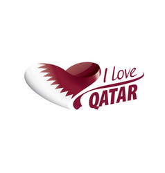 National flag qatar in shape a heart vector