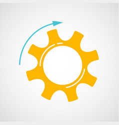 orange and blue teamwork concept with cog and gear vector image
