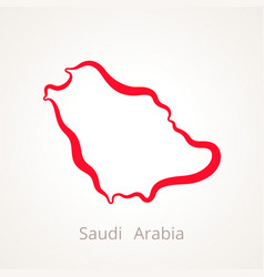 Outline map saudi arabia marked with red line vector