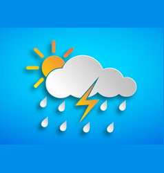 paper art hard rain icon vector image