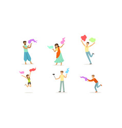 people celebrating festival color holi vector image
