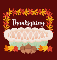 Pie apple of thanksgiving day vector