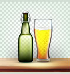 Realistic bottle and glass with frothy beer vector