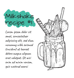 recipe of milkshake n1 smoothie with candys ice vector image