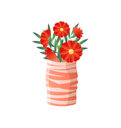 red flowers in striped vase isolated on white vector image