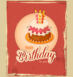 Red vintage birthday card with cake tier on napkin vector