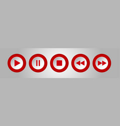 Red white round music control buttons set vector