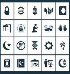 religion icons set with moon prayer ramadan and vector image