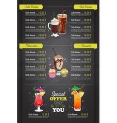 Restaurant vertical color cocktail menu vector