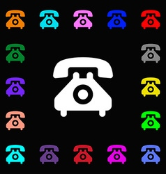 retro telephone handset icon sign Lots of colorful vector image