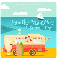 Sea camping with family trailer caravan vector