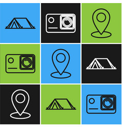 Set line tourist tent map pin and action extreme vector