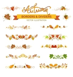 Set of autumn leaves borders page decorations and vector