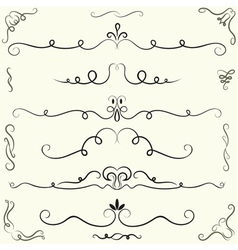 Set of calligraphic design elements and page vector