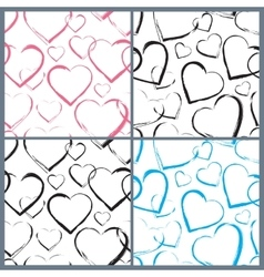 Set of Hearts Seamless Pattern vector