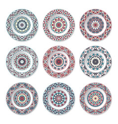 Set of nine decorative plates vector