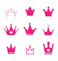 set pink sign crown princess design modern logos vector image