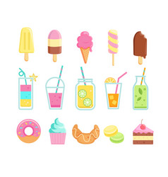 Set tasty sweet summer drinks and food icons vector
