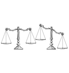 sketch of scales balanced and unbalanced vector image