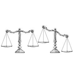sketch scales balanced and unbalanced vector image