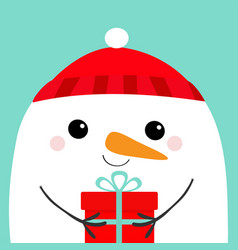 Snowman head face holding gift box red hat merry vector