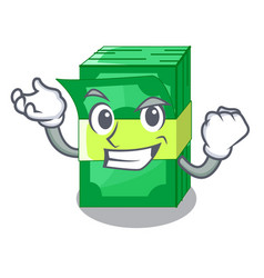 successful stack of dollars isolated on mascot vector image