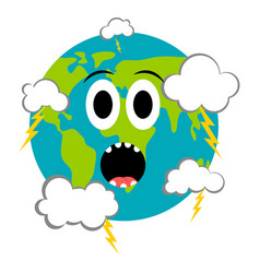 surprised earth emote earth day vector image