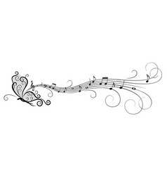 symbol butterfly with music notes vector image