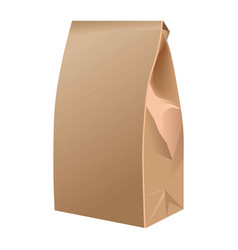 takeaway closed paper bag isolated on white vector image