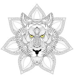 Tiger entangle face on mandala vector