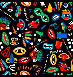 Tribal monster seamless pattern vector