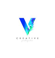 V letter icon design logo with creative artistic vector